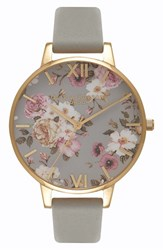 Olivia Burton Women's Flower Show Leather Strap Watch 38Mm