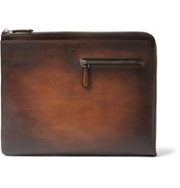 Berluti Au Grand Jour Polished Leather Document Holder Brown
