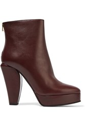 Marni Leather Ankle Boots Burgundy