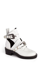 Balenciaga Women's Cutout Buckle Boot White Leather