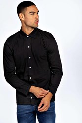 Boohoo Sleeve Button Through T Shirt Black