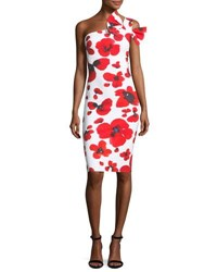 Chiara Boni La Petite Robe Manik Floral Print One Shoulder Cocktail Dress Red