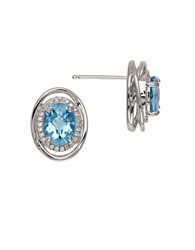 Lord And Taylor Blue Topaz Sterling Silver Stud Earrings