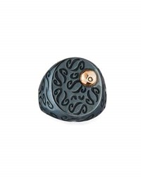 Marco Ta Moko Ara Burnished Signet Ring With 18K Rose Gold And Diamond Detail
