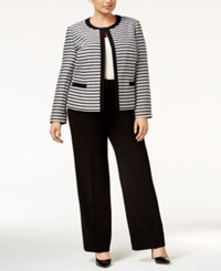 Tahari By Arthur S. Levine Asl Plus Size Striped Framed Jacket Pantsuit White Black