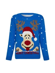 Mela Loves London Christmas Reindeer Jumper Blue