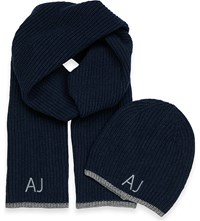 Armani Jeans Logo Embroidered Beanie Hat And Scarf Gift Set Mineral Blue