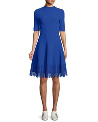 Lela Rose High Neck Elbow Sleeve Fit And Flare Knit Dress With Lace Hem Blue
