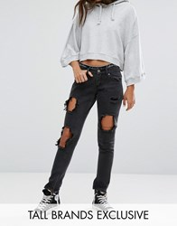 Liquor And Poker Tall Skinny Jeans With Extreme Distressing Ripped Knees Black