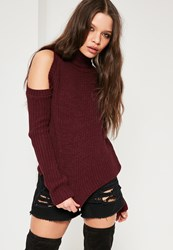 Missguided Burgundy Cold Shoulder Turtle Neck Slouchy Jumper Wine