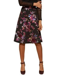 5Twelve Floral Foil Print A Line Skirt Black Red