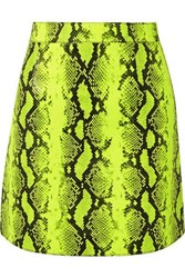 Off White Neon Snake Effect Leather Mini Skirt Lime Green
