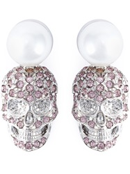 Philipp Plein 'Love Is The Key' Earrings Pink And Purple