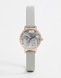 Olivia Burton Ob16sg06 Snow Globe Leather Watch In Grey And Rose Gold