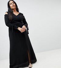 Lost Ink Plus Maxi Dress With Cold Shoulder Black