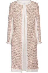 Oscar De La Renta Canvas Trimmed Metallic Tweed Coat Pastel Pink