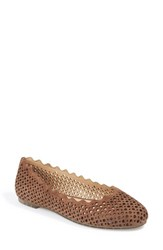 Me Too Women's Scalloped Flat Chestnut Suede