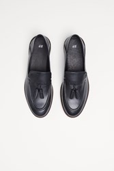 Handm Leather Loafers With Tassels Black