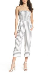 Ali And Jay Get In The Grove Stripe Strapless Jumpsuit Black White Uneven Stripe