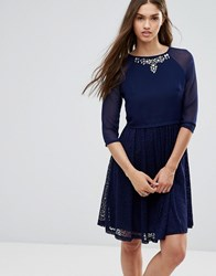 Little Mistress 3 4 Sleeve Skater Dress With Embellished Neckline Navy