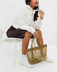 Opening Ceremony Leopard Mesh Small Chinatown Tote Brown