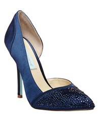 Betsey Johnson Sb Band Glitz Satin Pumps Navy