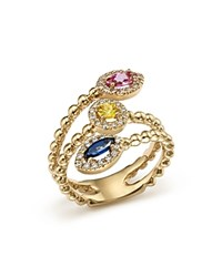 Bloomingdale's Multi Sapphire And Diamond Beaded Coil Ring In 14K Yellow Gold Multi Gold