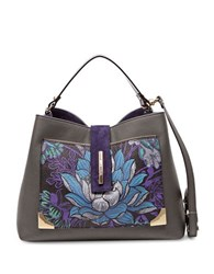 Braccialini Katia Printed Leather Satchel Grey
