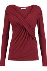 Bailey 44 Angela Cold Shoulder Draped Jersey Top Burgundy