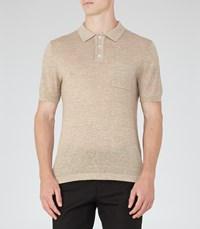 Reiss Hendrick Mens Mottled Polo Shirt In Brown
