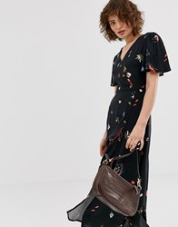 Warehouse Midi Dress In Floral Print Black