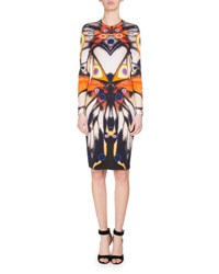 Givenchy Long Sleeve Butterfly Print Jersey Dress Multi