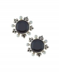 Stephen Dweck Quartz Hematite And Pearl Doublet Button Earrings
