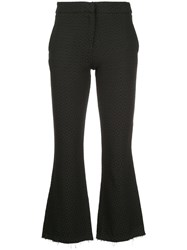 Taylor Cropped Flared Trousers Black