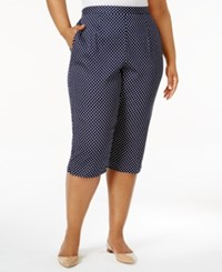 Alfred Dunner Plus Size Seas The Day Collection Polka Dot Capri Pants Navy