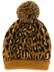 Saint Laurent Leopard Intarsia Beanie Nude And Neutrals