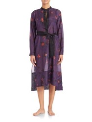Proenza Schouler Cotton And Silk Voile Shirtdress Coverup Aubergine