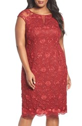 Brianna Plus Size Women's Illusion Sleeve Corded Lace Cocktail Dress