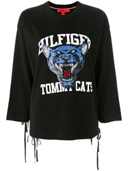 Hilfiger Collection Tomcats Sequin T Sweatshirt Women Cotton Viscose Xl Black