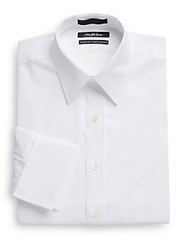 Saks Fifth Avenue Classic Fit French Cuff Cotton Dress Shirt White
