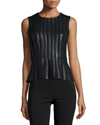 Bcbgmaxazria Roland Striped Faux Leather Peplum Top Black