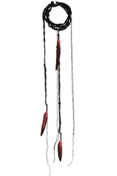 Ann Demeulemeester Bead And Feather Necklace Red