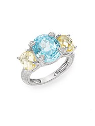 Judith Ripka White Sapphire And Sterling Silver Tri Stone Ring Silver Multi