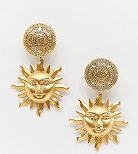 Regal Rose Arlana Gold Plated Sun Statement Clip On Drop Earrings
