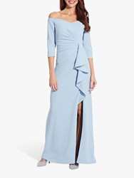 Adrianna Papell Off Shoulder Crepe Dress Blue Mist