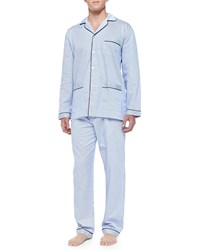 Neiman Marcus Striped Pajama Set Blue