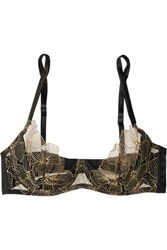 Coco De Mer Danae Silk Blend Satin And Embroidered Tulle Underwired Plunge Bra Black