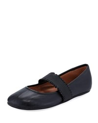 Gentle Souls Bray Unique Ankle Strap Ballet Flats Black