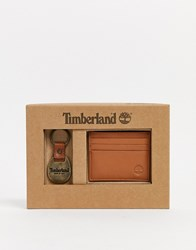 Timberland Card Holder And Keyring Gift Set In Tan Brown