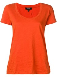 Theory Short Sleeve Fitted T Shirt Orange